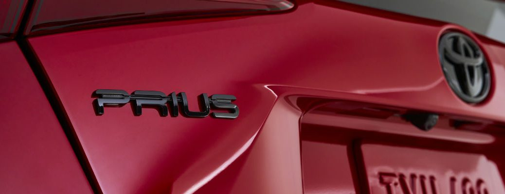 A photo of the Prius badge used on the back of the 2021 Toyota Prius.