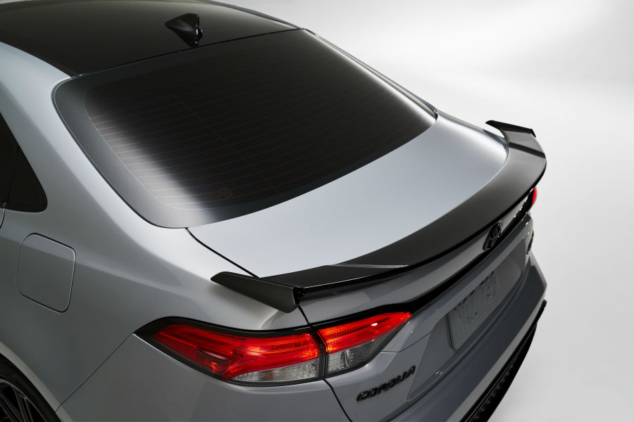 An overhead photo of the rear spoiler available on the 2021 Toyota Corolla Apex Edition.