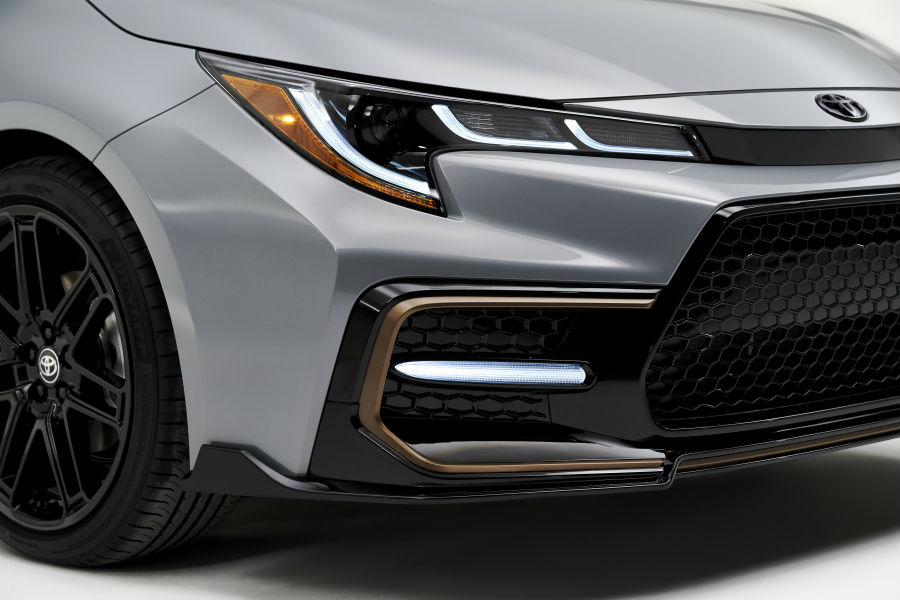 A close up photo of the front air dam on the 2021 Toyota Corolla Apex Edition.