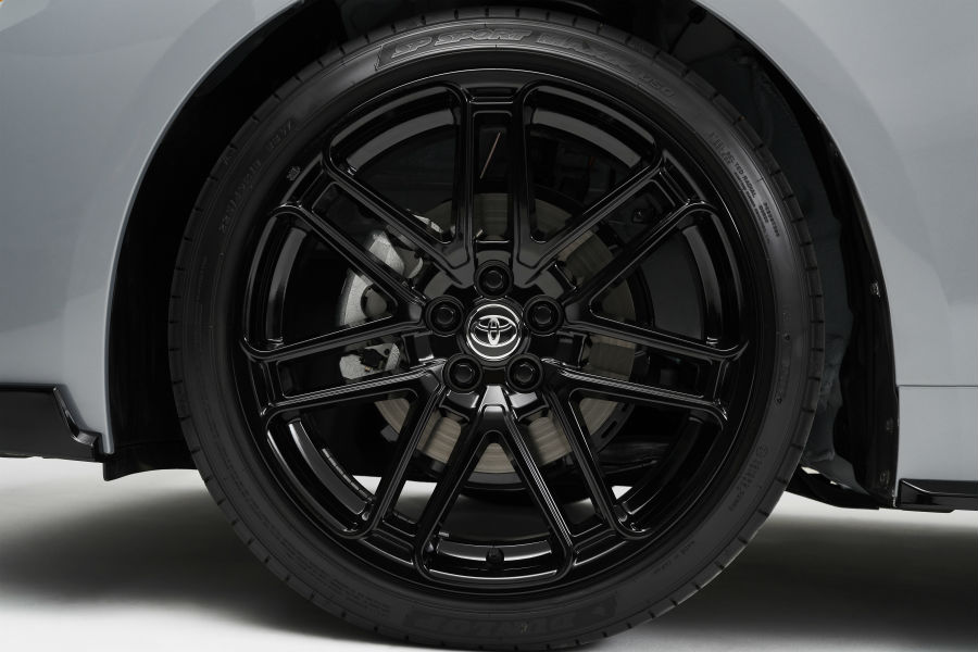 A photo of the wheels used by the 2021 Toyota Corolla Apex Edition.