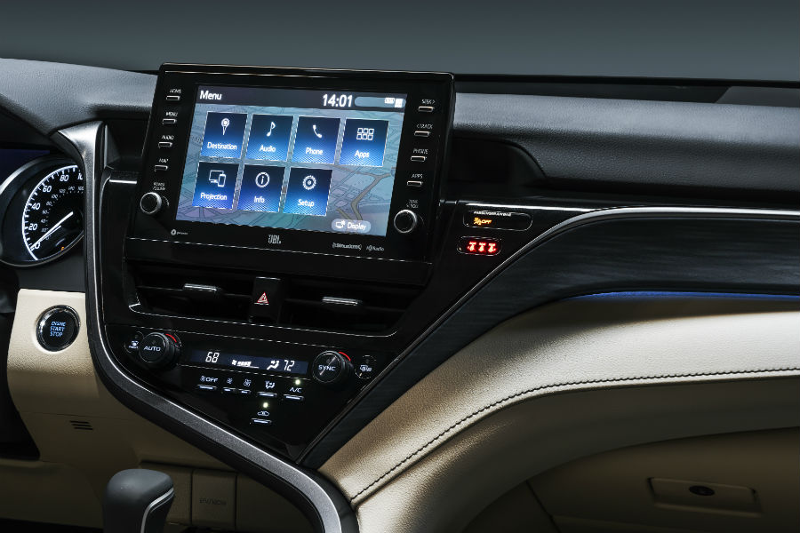 A photo of the touchscreen interface in the 2021 Toyota Camry.