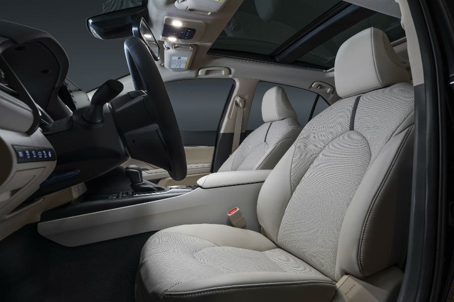 A photo of the front seats in the 2021 Toyota Camry.