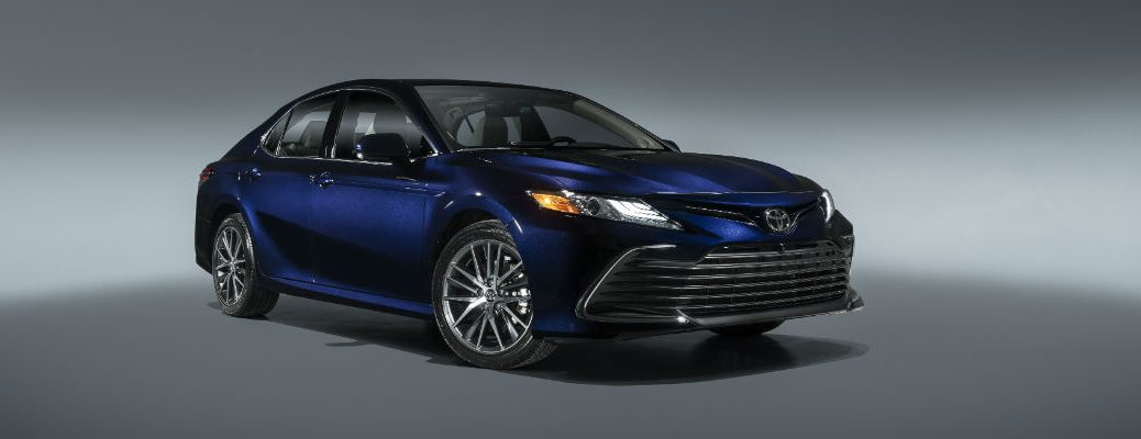 A front right quarter photo of the 2021 Toyota Camry.