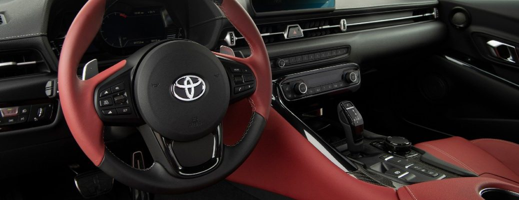 A photo of the gear-shifter for the automatic transmission in the 2021 Toyota Supra.