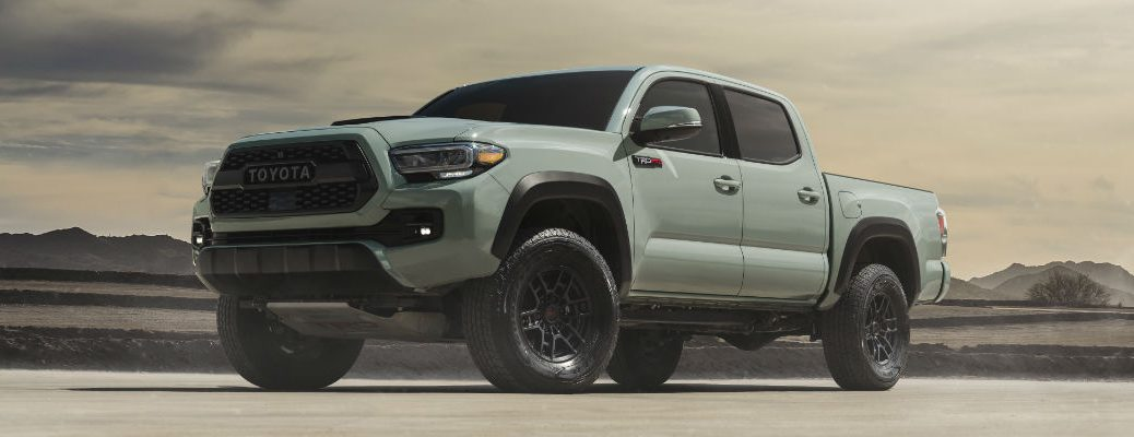 A photo of the 2021 Toyota Tacoma TRD Pro in the desert.
