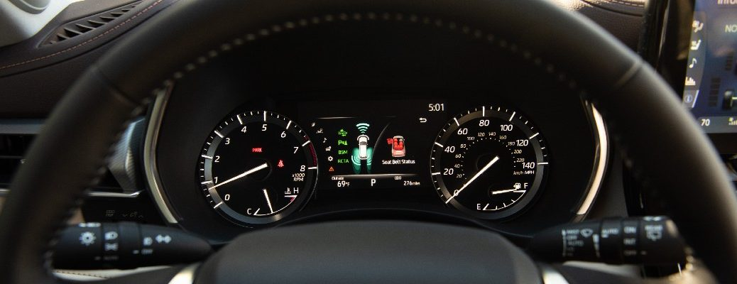 A photo of the driver information display in the 2020 Toyota Highlander.