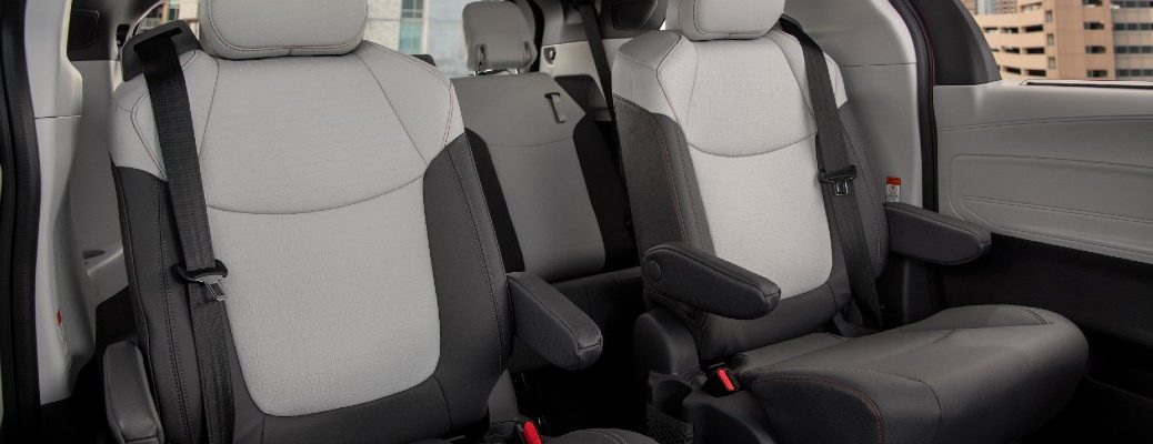 A photo of the second and third rows of seats in the 2021 Toyota Sienna.