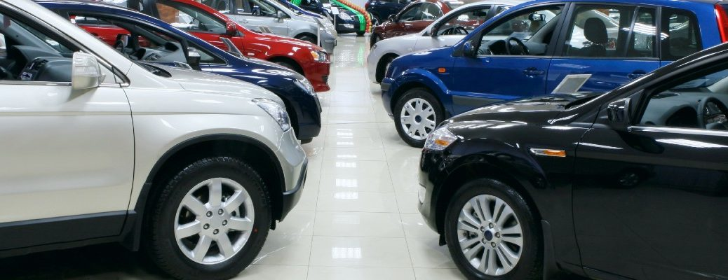 A stock photo of an automotive showroom.