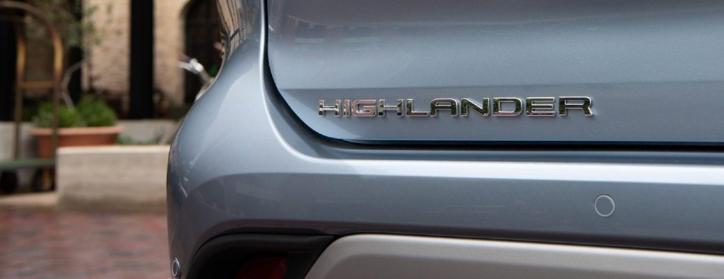 A photo of the Highlander badge used on the back of the 2021 Toyota Highlander.
