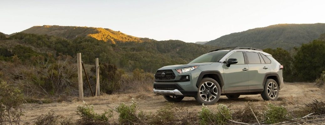 A left profile photo of the 2021 Toyota RAV4 Adventure parked in the wilderness.
