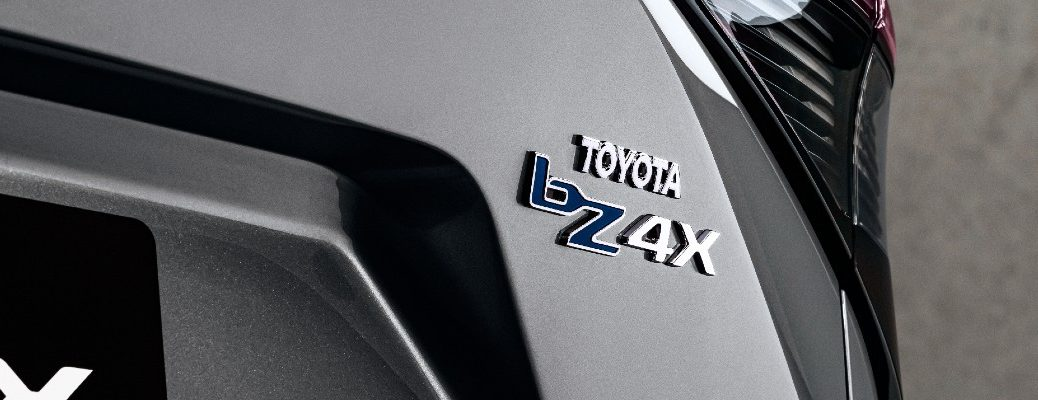 The bZ4X badge worn on the back of the Toyota bZ4X.