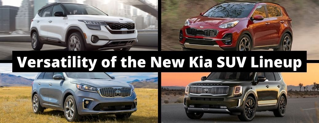 Versatility of the New Kia SUV Lineup banner with the four Kia SUV models as background