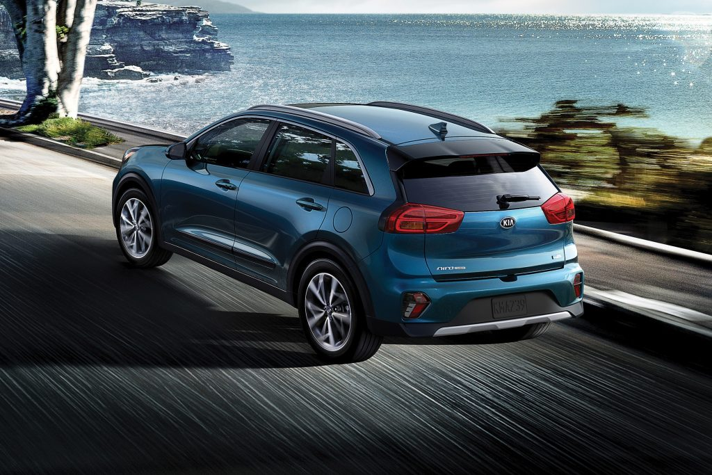 Exterior view of the rear of a blue 2020 Kia Niro