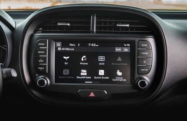 Interior view of the touch-screen display inside a 2021 Kia Soul