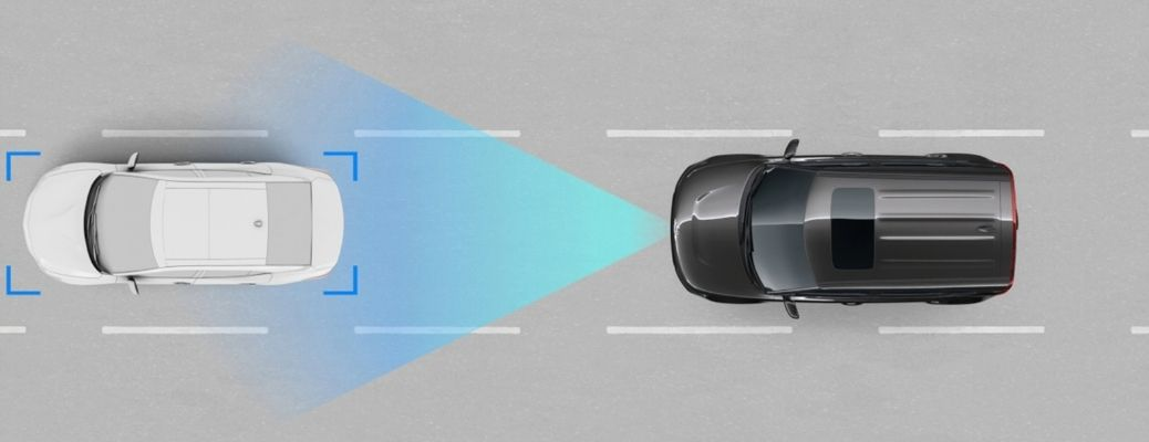 Visual representation of the Kia Smart Cruise Control with Stop and Go