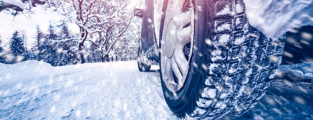 Tires on road in winter