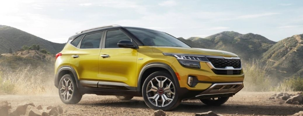 2021 Kia Seltos on a hilly backdrop off-road