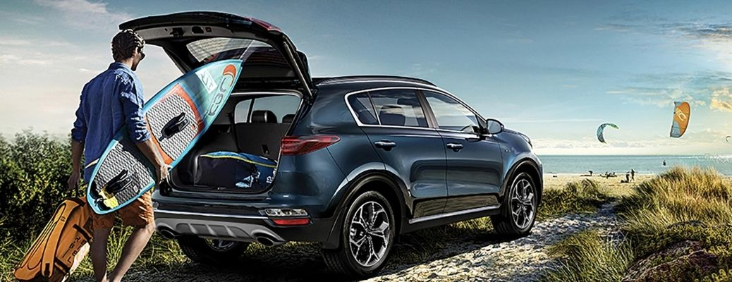 Blue 2022 Kia Sportage on the beach. Know about the external color options