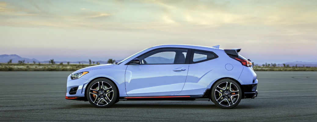 Side view of blue 2021 Hyundai Veloster N