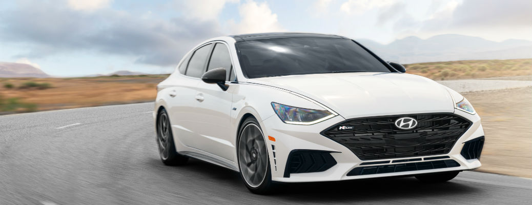 Front view of white 2021 Hyundai Sonata N Line