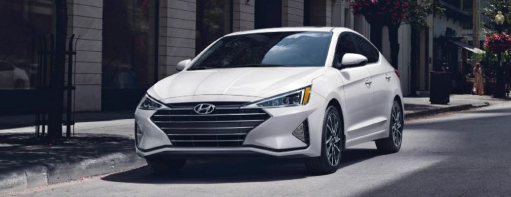 2020 Hyundai Elantra white exterior front driver side parked on side of street