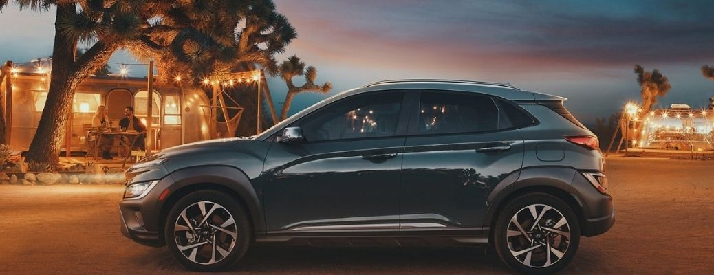 2022 Hyundai Kona parked in front of a shack.