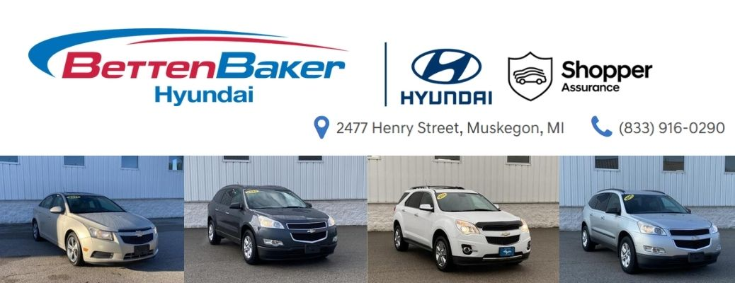 View of some of the cars available in Betten Baker Hyundai under $10,000