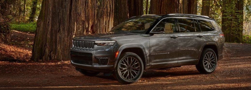 Gray 2021 Jeep Grand Cherokee L in the Woods