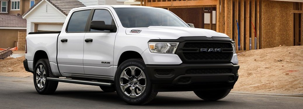 side view of a white 2021 Ram 1500