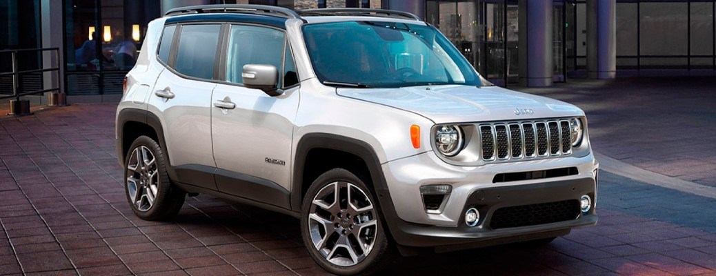 White colored 2021 Jeep Renegade parked on a city road