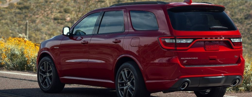 Rear end view of the 2021 Dodge Durango in Red