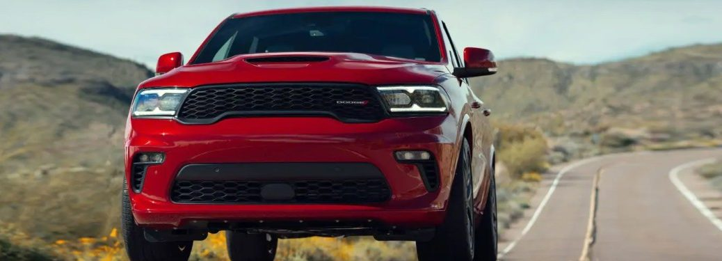 2021 Dodge Durango driving down a highway road