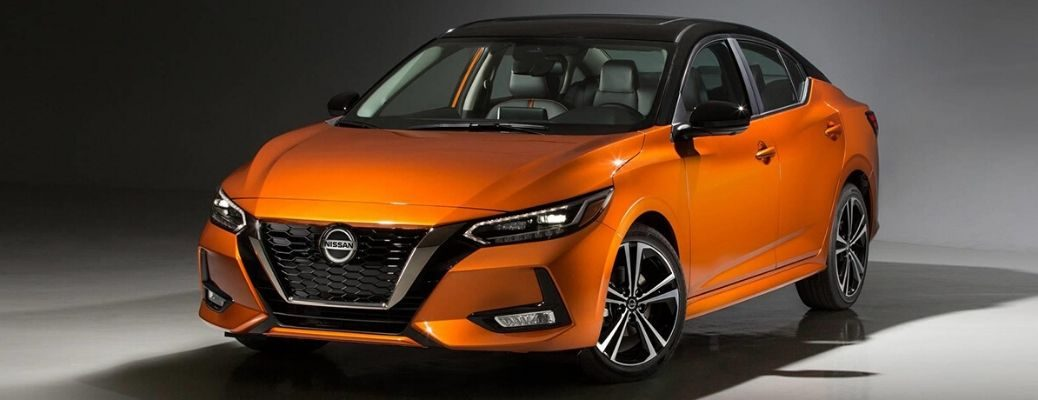 Orange 2020 Nissan Sentra parked in white
