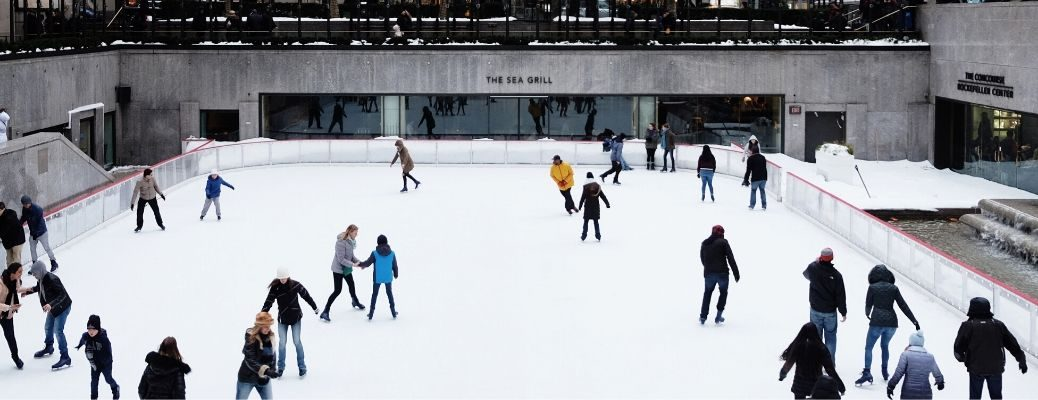 People ice skating together