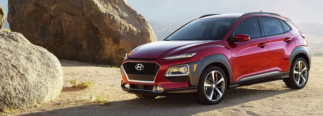 2020 Hyundai Kona exterior front fascia driver side in front of rocks