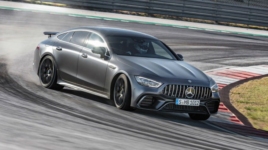 2019 Mercedes-AMG GT European Model exterior front fascia and passenger side on race track