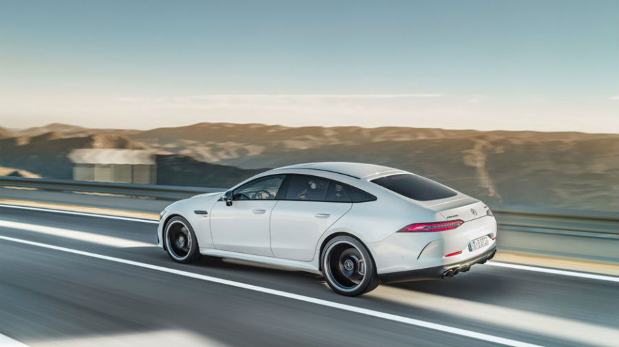 2019 Mercedes-AMG GT European model exterior back fascia drivers side going fast on road