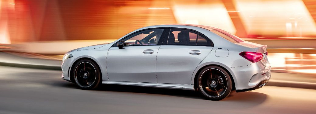 Driver side exterior view of a gray 2019 Mercedes-Benz A-Class