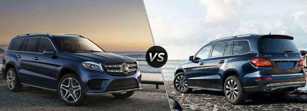 """Front passenger side exterior view of a blue 2019 Mercedes-Benz GLS 450 SUV on the left """"vs"""" rear driver side exterior view of a blue 2019 Mercedes-Benz GLS 550 SUV on the right"""