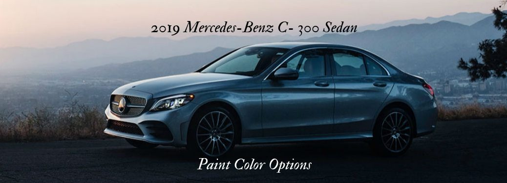 2019 Mercedes-Benz C 300 Sedan Color Options, text on a driver side exterior image of a gray 2019 Mercedes-Benz C 300 Sedan
