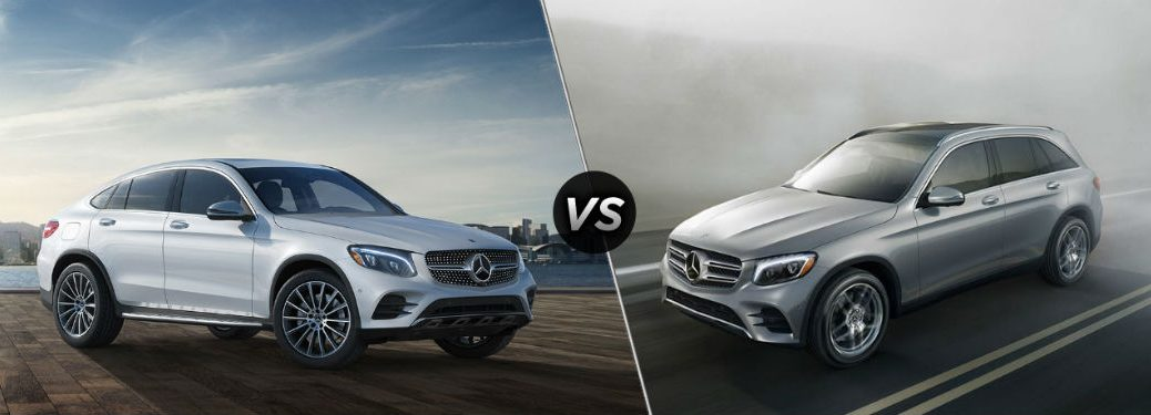 """Passenger side exterior view of a gray 2019 Mercedes-Benz GLC Coupe on the left """"vs"""" driver side exterior view of a gray 2019 Mercedes-Benz GLC SUV on the right"""