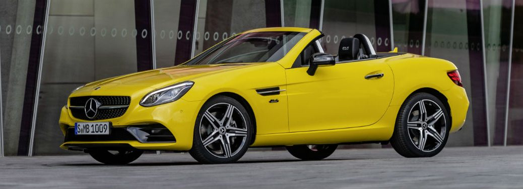 Driver side exterior view of a yellow 2020 Mercedes-Benz SLC Roadster Final Edition