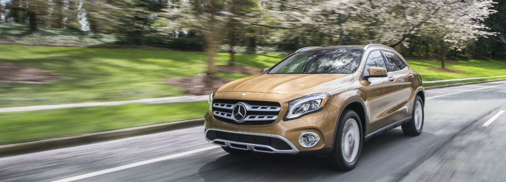 front view of gold mercedes gla 250