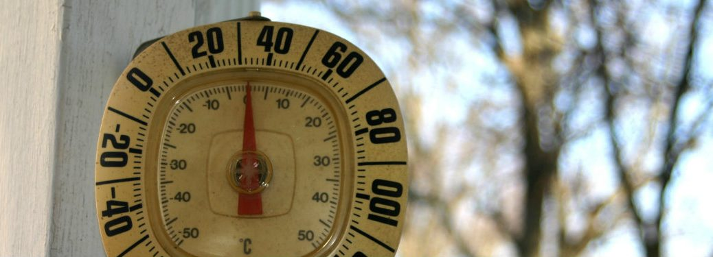 thermometer reading about 30 degrees Fahrenheit