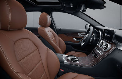 2020 MB C Class sedan interior side view of front row leather seats