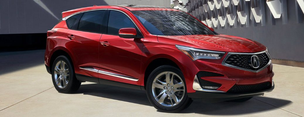Profile view of red 2019 Acura RDX