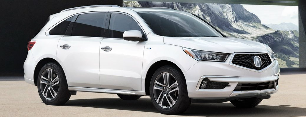 White 2019 Acura RDX inside modern-styled building