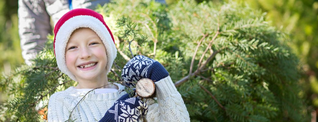 Young boy holding Christmas tree and smiling