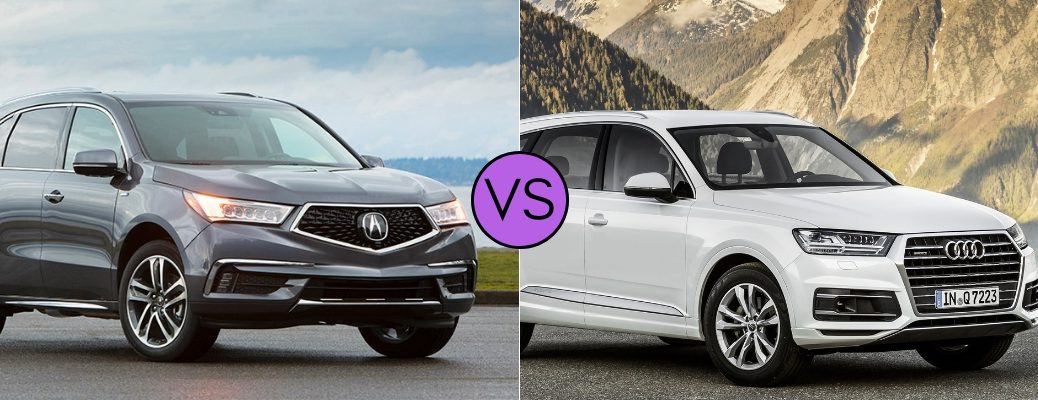 2019 Acura MDX set against the 2018 Audi Q7