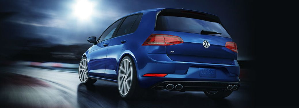 2019 VW Golf R blue exterior rear fascia driver side driving